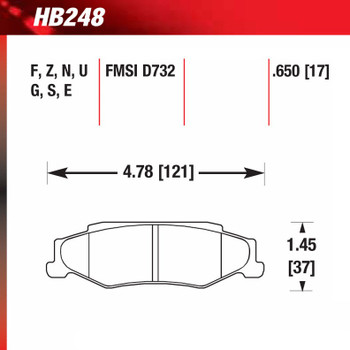 Hawk Corvette C5 and C6 HPS brake pad dimensions and specifications