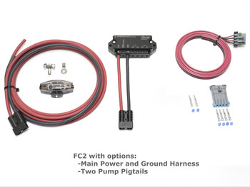 Fore Innovations dual fuel pump controller with power and ground wiring harnesses and fuel pump pigtails from Vette Lab