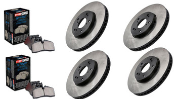 Complete Corvette 4-wheel budget brake set includes four premium rotors and two sets of StopTech Street brake pads