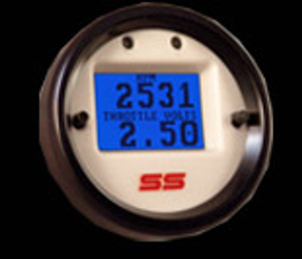 Gauges come configured with a black face and black bezel with polished silver center ring, but a white face is also included (shown).