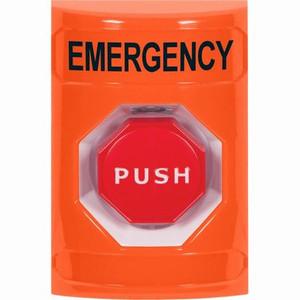SS2508EM-EN STI Orange No Cover Pneumatic (Illuminated) Stopper Station with EMERGENCY Label English
