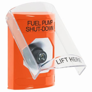 SS2523PS-EN STI Orange Indoor Only Flush or Surface Key-to-Activate Stopper Station with FUEL PUMP SHUT DOWN Label English