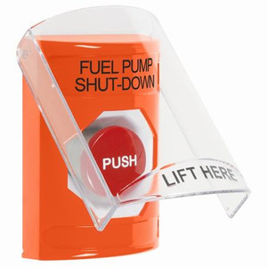 SS2524PS-EN STI Orange Indoor Only Flush or Surface Momentary Stopper Station with FUEL PUMP SHUT DOWN Label English