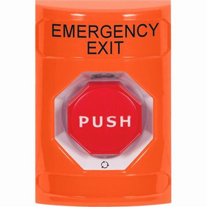 SS2509EX-EN STI Orange No Cover Turn-to-Reset (Illuminated) Stopper Station with EMERGENCY EXIT Label English