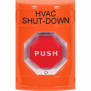 SS2509HV-EN STI Orange No Cover Turn-to-Reset (Illuminated) Stopper Station with HVAC SHUT DOWN Label English