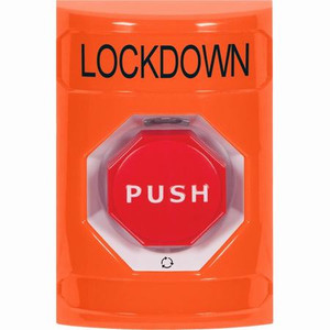 SS2509LD-EN STI Orange No Cover Turn-to-Reset (Illuminated) Stopper Station with LOCKDOWN Label English