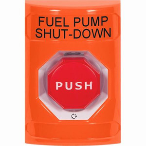 SS2509PS-EN STI Orange No Cover Turn-to-Reset (Illuminated) Stopper Station with FUEL PUMP SHUT DOWN Label English