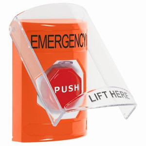 SS2525EM-EN STI Orange Indoor Only Flush or Surface Momentary (Illuminated) Stopper Station with EMERGENCY Label English