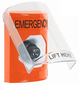 SS25A3EM-EN STI Orange Indoor Only Flush or Surface w/ Horn Key-to-Activate Stopper Station with EMERGENCY Label English