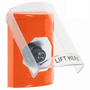 SS25A3NT-EN STI Orange Indoor Only Flush or Surface w/ Horn Key-to-Activate Stopper Station with No Text Label English