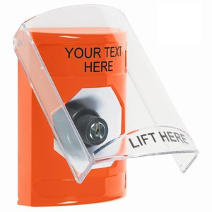 SS25A3ZA-EN STI Orange Indoor Only Flush or Surface w/ Horn Key-to-Activate Stopper Station with Non-Returnable Custom Text Label English