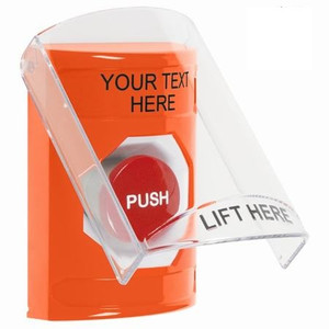 SS25A4ZA-EN STI Orange Indoor Only Flush or Surface w/ Horn Momentary Stopper Station with Non-Returnable Custom Text Label English