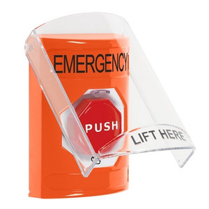 SS25A9EM-EN STI Orange Indoor Only Flush or Surface w/ Horn Turn-to-Reset (Illuminated) Stopper Station with EMERGENCY Label English