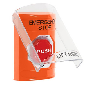 SS25A9ES-EN STI Orange Indoor Only Flush or Surface w/ Horn Turn-to-Reset (Illuminated) Stopper Station with EMERGENCY STOP Label English