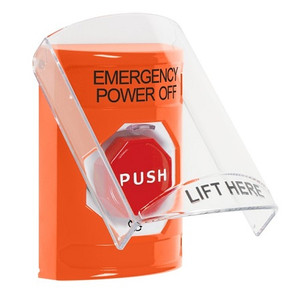 SS25A9PO-EN STI Orange Indoor Only Flush or Surface w/ Horn Turn-to-Reset (Illuminated) Stopper Station with EMERGENCY POWER OFF Label English