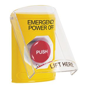 SS2221PO-EN STI Yellow Indoor Only Flush or Surface Turn-to-Reset Stopper Station with EMERGENCY POWER OFF Label English
