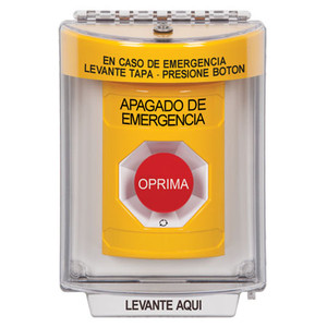SS2231PO-ES STI Yellow Indoor/Outdoor Flush Turn-to-Reset Stopper Station with EMERGENCY POWER OFF Label Spanish