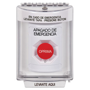 SS2331PO-ES STI White Indoor/Outdoor Flush Turn-to-Reset Stopper Station with EMERGENCY POWER OFF Label Spanish