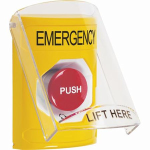 SS2221EM-EN STI Yellow Indoor Only Flush or Surface Turn-to-Reset Stopper Station with EMERGENCY Label English
