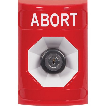 SS2003AB-EN STI Red No Cover Key-to-Activate Stopper Station with ABORT Label English