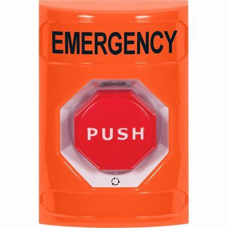 SS2509EM-EN STI Orange No Cover Turn-to-Reset (Illuminated) Stopper Station with EMERGENCY Label English