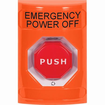 SS2509PO-EN STI Orange No Cover Turn-to-Reset (Illuminated) Stopper Station with EMERGENCY POWER OFF Label English