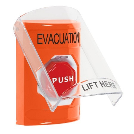 SS25A8EV-EN STI Orange Indoor Only Flush or Surface w/ Horn Pneumatic (Illuminated) Stopper Station with EVACUATION Label English