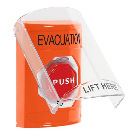 SS25A9EV-EN STI Orange Indoor Only Flush or Surface w/ Horn Turn-to-Reset (Illuminated) Stopper Station with EVACUATION Label English