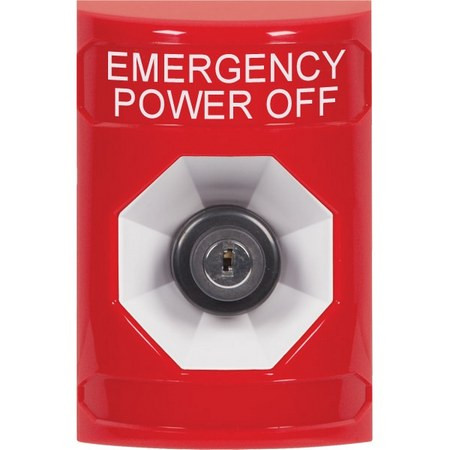 SS2003PO-EN STI Red No Cover Key-to-Activate Stopper Station with EMERGENCY POWER OFF Label English