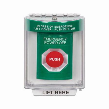 SS2131PO-EN STI Green Indoor/Outdoor Flush Turn-to-Reset Stopper Station with EMERGENCY POWER OFF Label English