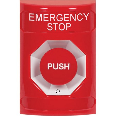 SS2001ES-EN STI Red No Cover Turn-to-Reset Stopper Station with EMERGENCY STOP Label English