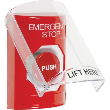 SS2021ES-EN STI Red Indoor Only Flush or Surface Turn-to-Reset Stopper Station with EMERGENCY STOP Label English