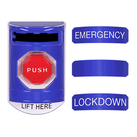 CP-SS43-EN STI 3-in-1 Stopper Station Kit - Blue - Indoor Cover - Key-to-Reset/Turn-to-Reset/Momentary with EMERGENCY, LOCKDOWN, and BLANK Label English