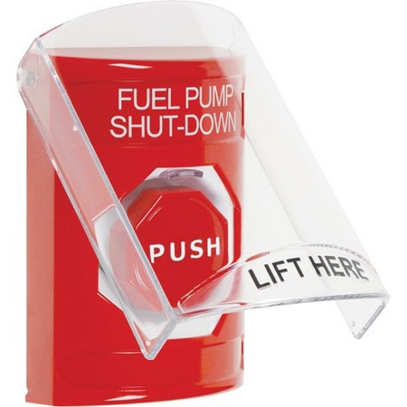 SS2022PS-EN STI Red Indoor Only Flush or Surface Key-to-Reset (Illuminated) Stopper Station with FUEL PUMP SHUT DOWN Label English
