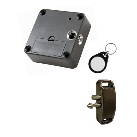 3590RAFOB Doormakaba RCI Battery Powered Lock with Built-in Proximity Reader Right-Angle Spring Loaded Locking Pin with 2 Packs of Proximity Key Fobs