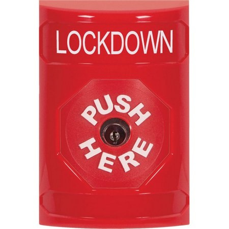 SS2000LD-EN STI Red No Cover Key-to-Reset Stopper Station with LOCKDOWN Label English