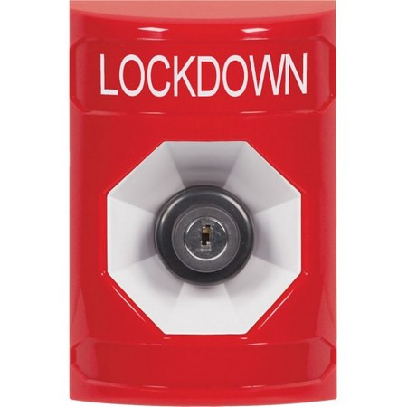 SS2003LD-EN STI Red No Cover Key-to-Activate Stopper Station with LOCKDOWN Label English