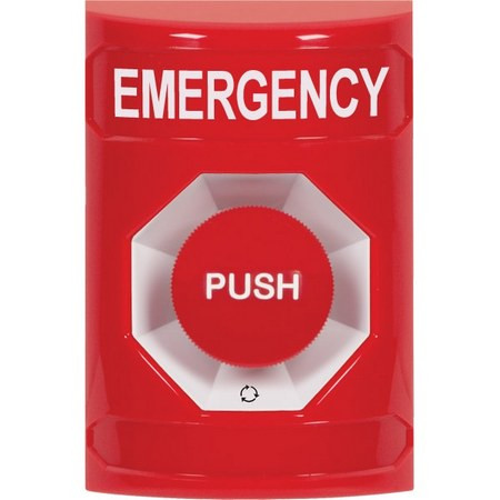 SS2001EM-EN STI Red No Cover Turn-to-Reset Stopper Station with EMERGENCY Label English