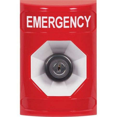 SS2003EM-EN STI Red No Cover Key-to-Activate Stopper Station with EMERGENCY Label English