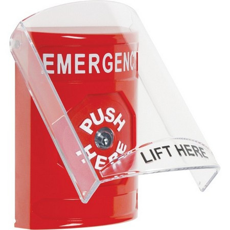 SS2020EM-EN STI Red Indoor Only Flush or Surface Key-to-Reset Stopper Station with EMERGENCY Label English