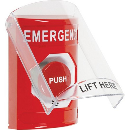 SS2021EM-EN STI Red Indoor Only Flush or Surface Turn-to-Reset Stopper Station with EMERGENCY Label English
