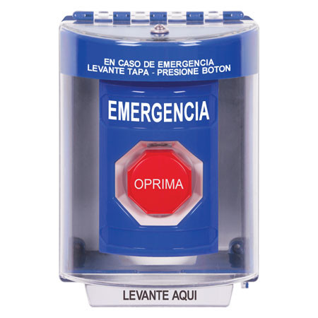 SS2472EM-ES STI Blue Indoor/Outdoor Surface Key-to-Reset (Illuminated)  Stopper Station with EMERGENCY Label Spanish