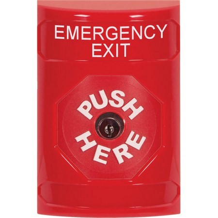SS2000EX-EN STI Red No Cover Key-to-Reset Stopper Station with EMERGENCY EXIT Label English