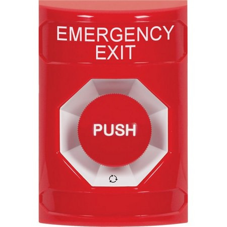 SS2001EX-EN STI Red No Cover Turn-to-Reset Stopper Station with EMERGENCY EXIT Label English
