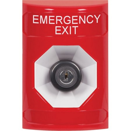 SS2003EX-EN STI Red No Cover Key-to-Activate Stopper Station with EMERGENCY EXIT Label English