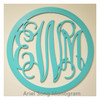 Wooden Monogram Letters with Round Border