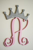 Wooden Initials with Crown, Wall Hanging Letters, Nursery Decor