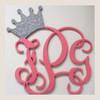 Wooden Monogram Initials - Glitter Crown Letters  - Nursery Decor