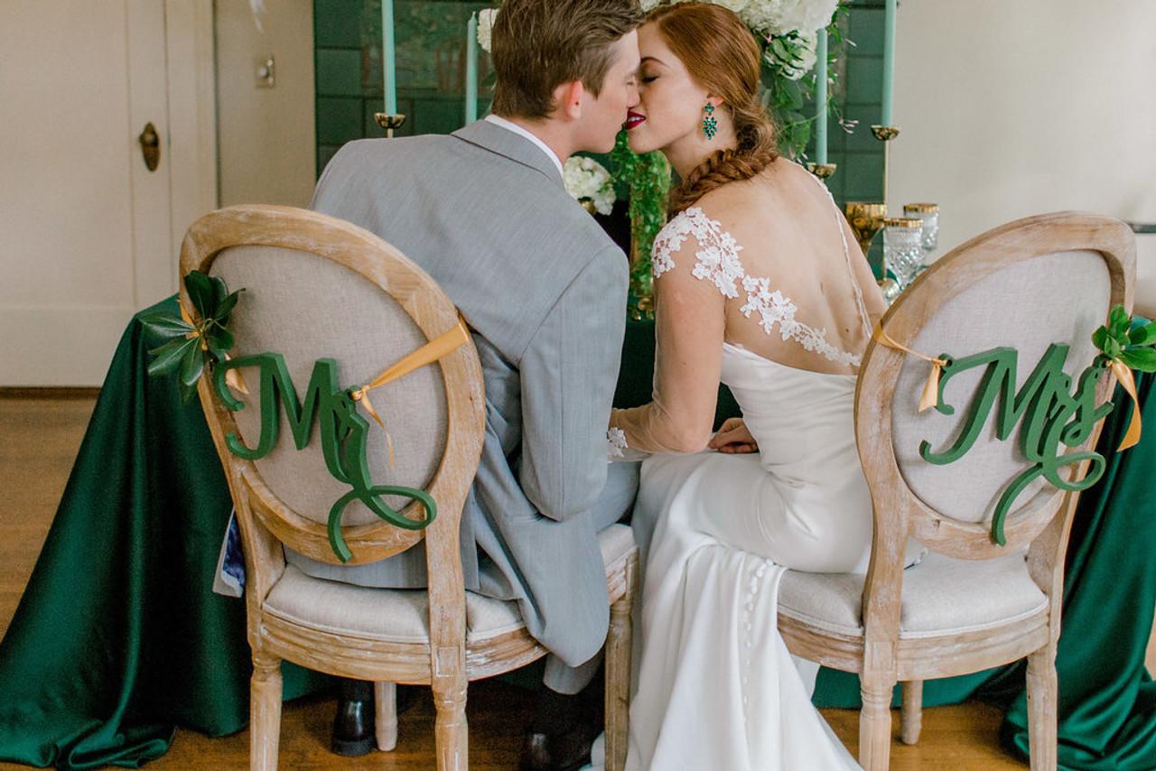 Mr Mrs Wedding Chair Hangers Set Monogramcrafty