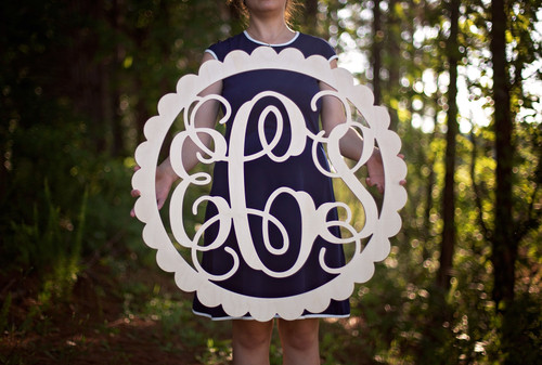Wooden Monogram Letters with Scalloped Round Border
